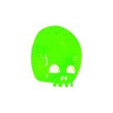 Retro cartoon glowing green skull symbol Stock Photos