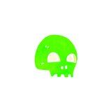 Retro cartoon glowing green skull symbol Royalty Free Stock Photography
