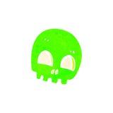 Retro cartoon glowing green skull symbol Stock Image