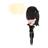 Retro cartoon goth teen girl with speech bubble Stock Photo