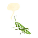 retro cartoon grasshopper with speech bubble Royalty Free Stock Photos