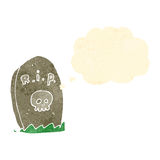 Retro cartoon grave with thought bubble Stock Images