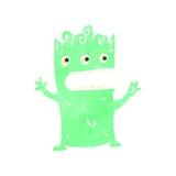 Retro cartoon green alien Stock Photo