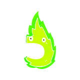retro cartoon green fire ghost Stock Photos