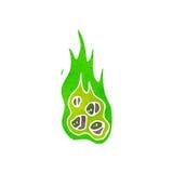 Retro cartoon green fireball. Retro cartoon with texture. Isolated on White Royalty Free Stock Photography