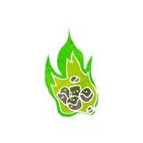 Retro cartoon green fireball. Retro cartoon with texture. Isolated on White Stock Images