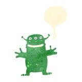 Retro cartoon grinning alien Stock Images
