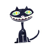 Retro cartoon grinning black cat Stock Photos