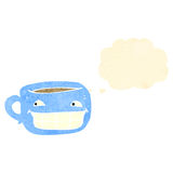 Retro cartoon grinning coffee cup Royalty Free Stock Photo