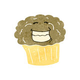 Retro cartoon grinning muffin Stock Images