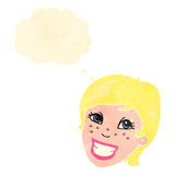 Retro cartoon grinning woman Royalty Free Stock Image