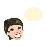 Retro cartoon grinning woman Royalty Free Stock Photography