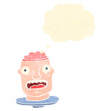 Retro cartoon gross head with exposed brain Royalty Free Stock Photo