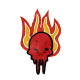 Retro cartoon gross melting skull symbol Royalty Free Stock Photography