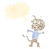 Retro cartoon gross mutant monster shouting. Retro cartoon with texture. Isolated on White Stock Photos