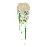 Retro cartoon gross slime dripping skull Stock Photo