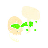 Retro cartoon gross slime spurting skull Royalty Free Stock Photography