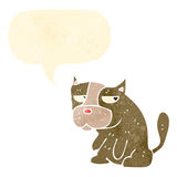 Retro cartoon grumpy little dog Royalty Free Stock Image