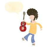 Retro cartoon guitar player Stock Photography