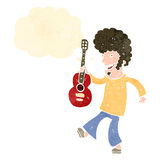 Retro cartoon guitar player Royalty Free Stock Photos