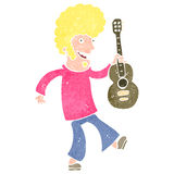 Retro cartoon guitar player Royalty Free Stock Photo