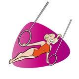 Retro cartoon gymnast Royalty Free Stock Photography