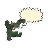 Retro cartoon hairy monster with speech bubble Stock Image