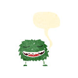 Retro cartoon hairy monster with speech bubble Stock Photo