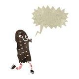 Retro cartoon hairy monster with speech bubble Stock Photography