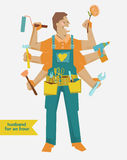 Retro cartoon Handyman with different tools Stock Photo