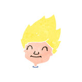 Retro cartoon happy blond boy Stock Photos