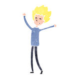 Retro cartoon happy blond boy Stock Image
