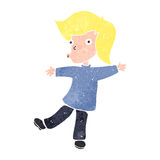 Retro cartoon happy blond boy Royalty Free Stock Photography