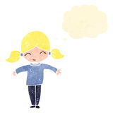 Retro cartoon happy blond girl Stock Photo