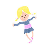 Retro cartoon happy blond girl dancing Stock Photos