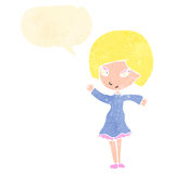 Retro cartoon happy blond girl with speech bubble Stock Photography