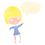 Retro cartoon happy blond girl with speech bubble Stock Photo