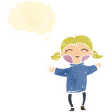 Retro cartoon happy blond girl with thought bubble Royalty Free Stock Photo