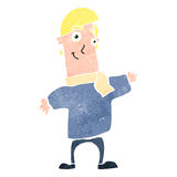 Retro cartoon happy blond man Royalty Free Stock Image
