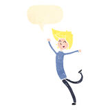 Retro cartoon happy blond person Royalty Free Stock Photo