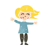 Retro cartoon happy blond woman Stock Photos