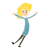 Retro cartoon happy blond woman Royalty Free Stock Photography
