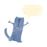 Retro cartoon happy cat with speech bubble Royalty Free Stock Images