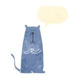Retro cartoon happy cat with speech bubble Stock Image