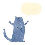Retro cartoon happy cat with speech bubble Royalty Free Stock Photography