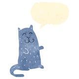 Retro cartoon happy cat with speech bubble Royalty Free Stock Photos