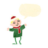 Retro cartoon happy christmas elf Royalty Free Stock Photos