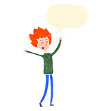 retro cartoon happy ginger boy with speech bubble Stock Photo