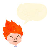 Retro cartoon happy ginger boy with speech bubble Stock Image