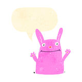 Retro cartoon happy pink rabbit Stock Photos